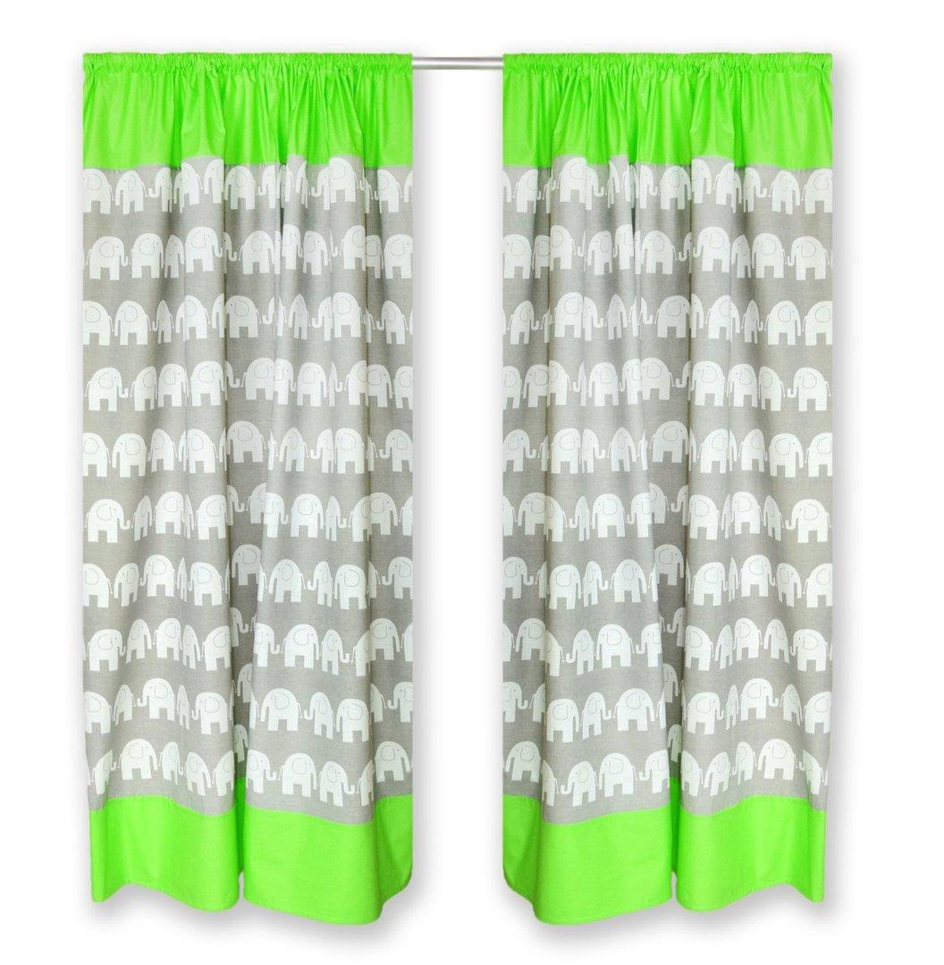 155 cm Set mit Schlaufen Baby Gardinen Vorhang Elefant Graugrün